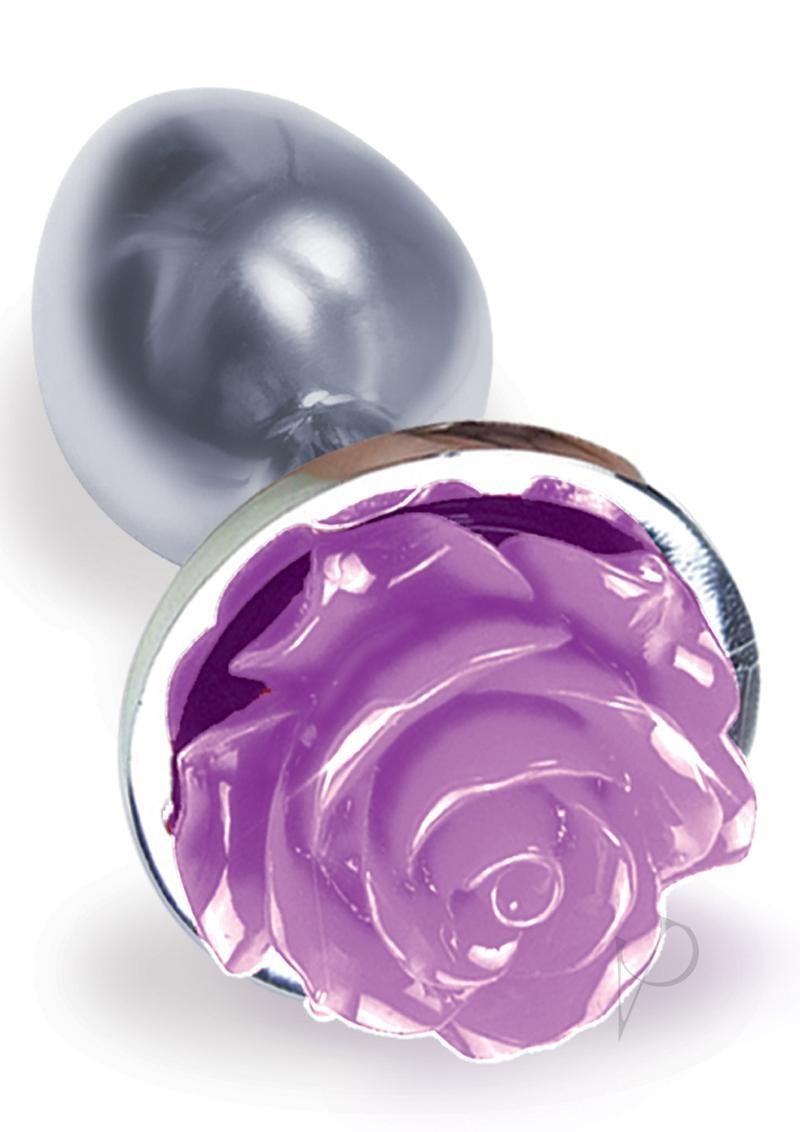The 9 Silver Starter Rose Steel Plug Purple Anal Plug Non Vibrating